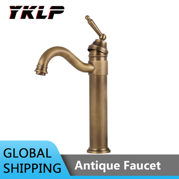 Bathroom Antique Bronze Faucet Tall Vessel Sink Faucets Mixer Hot and Cold Water Tap Antique Bronze Finished