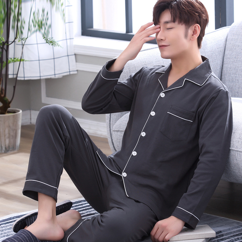 Pure Cotton Men Pajama Set Solid Color Sleepwear Soft Sweat Absorbing Nightgown