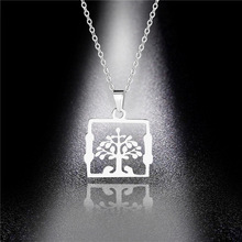 Life Tree Titanium Steel Necklace Hot Selling Wishing Tree Simple Fashion Stainless Steel Pendant Necklace Wholesale men titanium steel overbearing tiger head pendant necklace so235