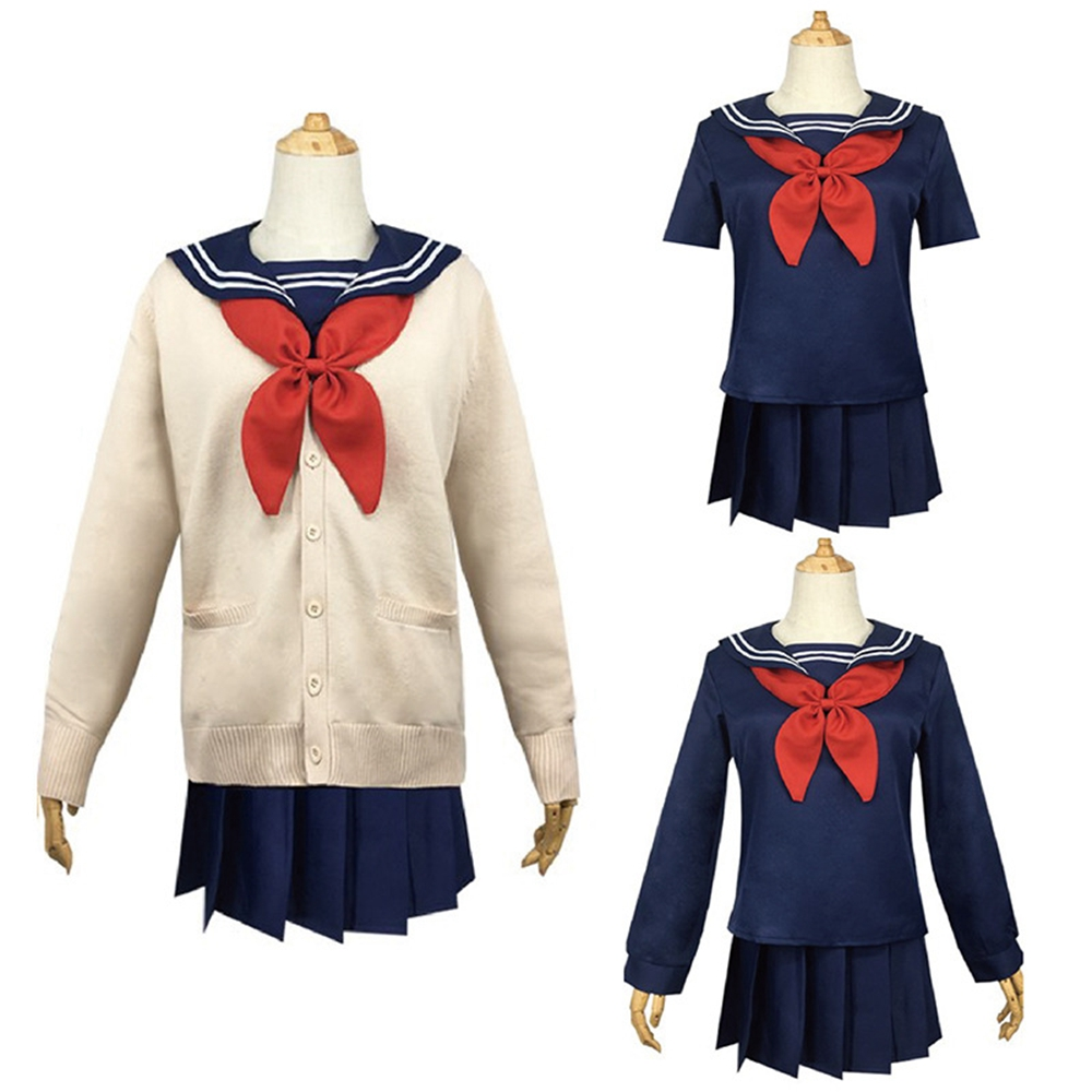 My Hero Academia Cosplay Costume Anime Boku No Hero Academia Himiko Toga JK Uniform Women Sailor Suit Sweaters Dress Set