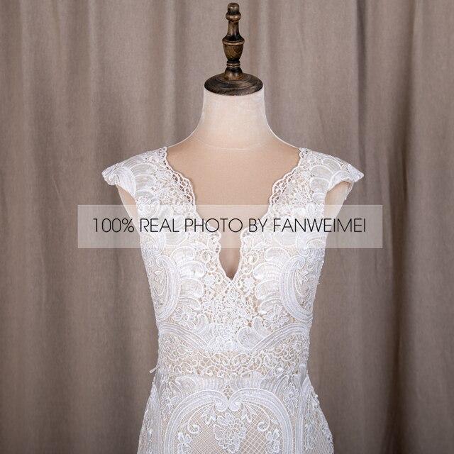 794#Deep V-Neck Sexy Backless Cap Sleeve Lace Sheath Boho Bohemian Wedding Bride Dress REAL PHOTO FACTORY PRICE CUSTOM MADE 5