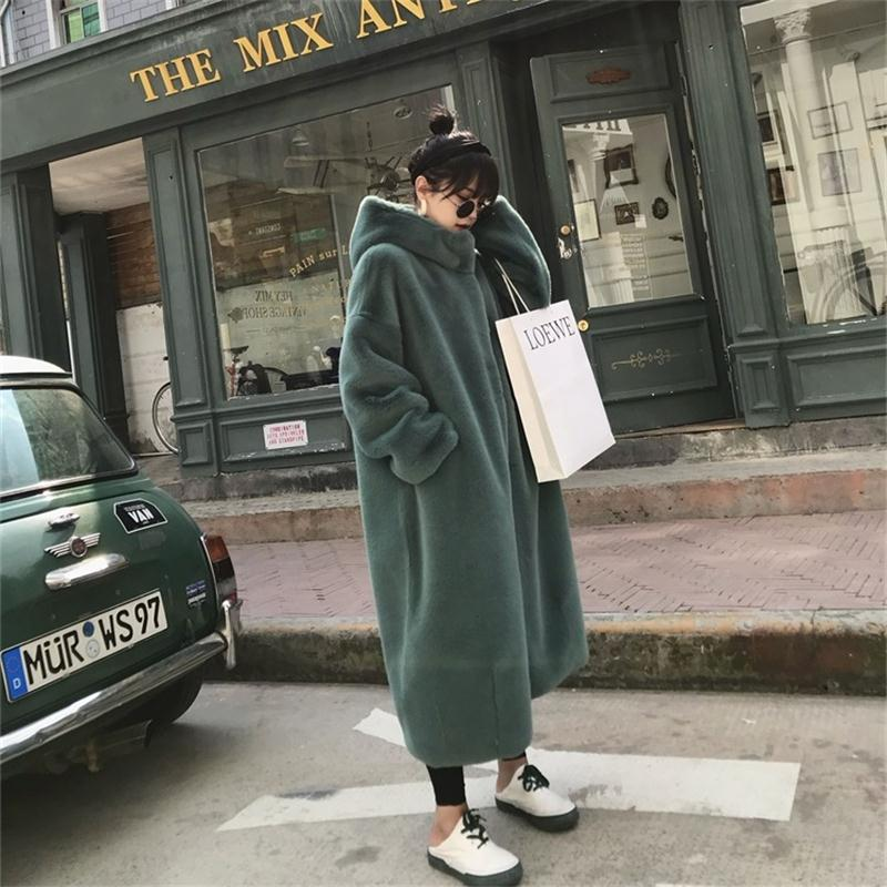 Fur Coat Autumn Winter 2019 Hot Sale Women Faux Fur Coat Teddy Coat Imitation Rabbit Hair Long Hooded Fur Coats Sheepskin Coat