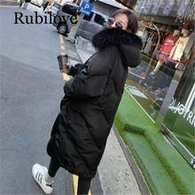 Rubilove 2019 New Oversized Coats Thick Winter Jacket Women Hooded Fur Collar Down Cotton Coat Long Jacket Female Parkas Coats стоимость