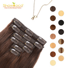 ShowCoco Natural Clip In Hair Extensions Human Hair Straight Machine-Made Remy 8 10 11pcs 120g 170g 210g Clip On Hair Extensions