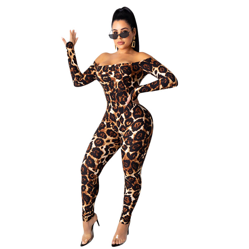 Womens Fashion Off The Shoulder Leopard Print Jumpsuit