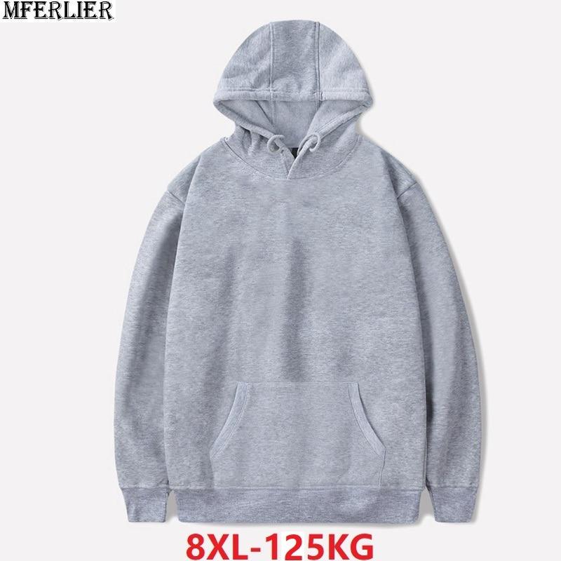 MFERLIER Winter Men Women Sportwear Hoodies Sweatshirts Fleece Autumn Hooded Large Size Big Sale 8XL Solid Color Cheap Coat Red