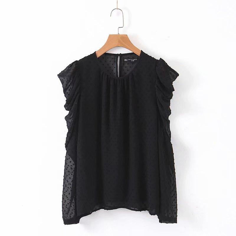 2019 Women Elegant Solid Color O Neck Chiffon Blouse Shirts Women Pleated Long Sleeve Blusas Chic Autumn Femininas Tops LS4247