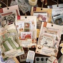 60Pcs Retro Art Collection Multi-Materiaal Deco Dagboek Materiaal Stickers Scrapbooking Planner Decoratieve School Briefpapier Sticker