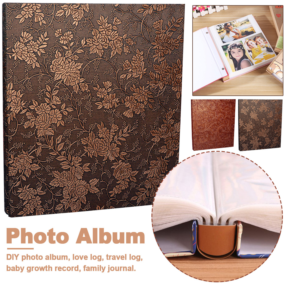 600 Pockets 6 Inch Interleaf Type Big High Capacity Photo Album PU Leather Photo Albums Handmade DIY Commemorative Family Flower image