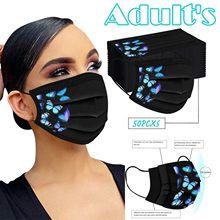 50 adet moda kelebek maskeleri tek kullanımlık koruma güvenli 3ply kat nefes ayarlanabilir Pm2.5 maskeleri Masques endüstriyel bandaj