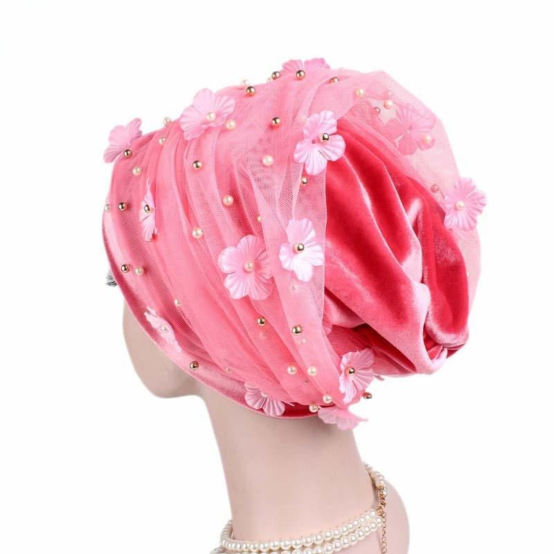 Image 3 - Helisopus Women New Beaded Mesh Flower Velvet Turban Women Hair  Accessories Fashion Wrapped Head Scarf Hijab Cap Muslim HatWomens Hair  Accessories