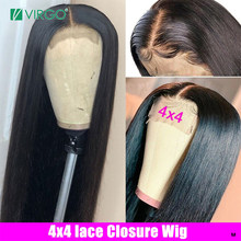 Virgo Straight Human Hair Wigs 4x4 Lace Closure Wig with Baby Hair for Black Women Brazilian Lace Wig Remy 10-24inch 150%Density(China)