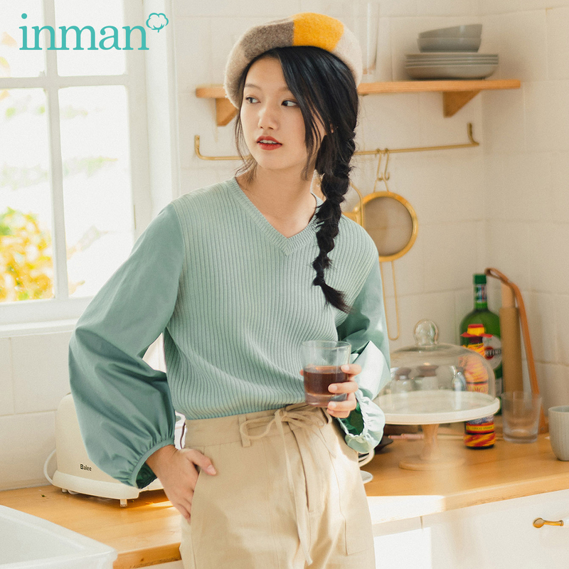 INMAN Spring New Arrival Literary Style V Collar Patched Work France Style Puff Long Sleeve Knitwear Sweater