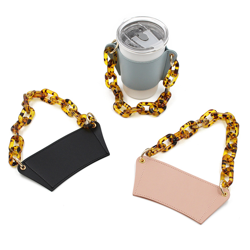 PU Leather Hand-held Glass Cup Holder Detachable Chain Coffee Cup Outer Packaging Leather Case Specialty Kitchen Tools Gadgets