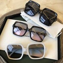 Очки солнцезащитные женские квадратные в винтажном стиле, роскошные брендовые модные градиентные солнечные очки в большой оправе, черные
