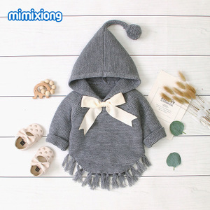 Image 2 - Hot Sale Baby Knitted Bow Hooded Sweater Tops New Spring Autumn Crochet Toddler Kids Clothes Sweater