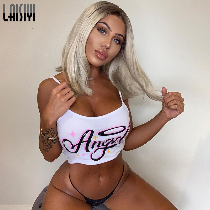 LAISIYI Angel Print Crop   Top   Sexy Letter Printed Spaghetti Strap   Top   Summer Women Camisoles Fashion Backless Streetwear   Tank     Top