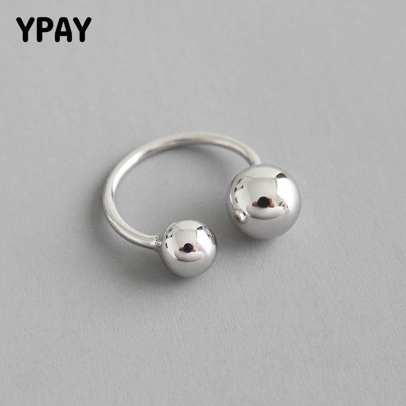 YPAY Genuine 925 Sterling Silver Big And Small Double Ball Beads Opening Rings For Women Bague Anillos Fine Jewelry Gift YMR824
