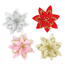 5 uds 13cm de plata de oro flores artificiales Navidad adornos colgantes de árbol decoraciones para el hogar Navidad decoración de Año Nuevo