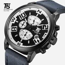 Voll Schwarz Luxus marke T5 Mann designer Chronograph Quarz Wasserdichte Herren Uhren Männer Armbanduhren Sport Uhr