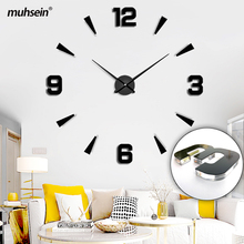 muhsein New Crystal Wall Clock Horloge 3D DIY Sticker Wall Clock Hyaline Large Watch Home Decoration For Living Room Free Ship