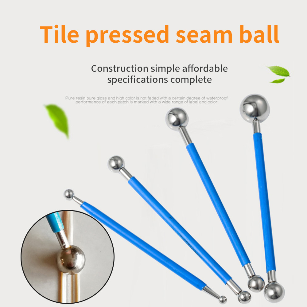 4pcs/Set Double Steel Pressed Ball Tile Grout Repairing Stick Ceramic Floor Grout Glue Gap Scraping Construction Tools