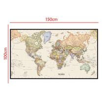 World Map Mercator Projection Detailed Of Major Cities In Each Country 150x100cm Non-woven Without Flag