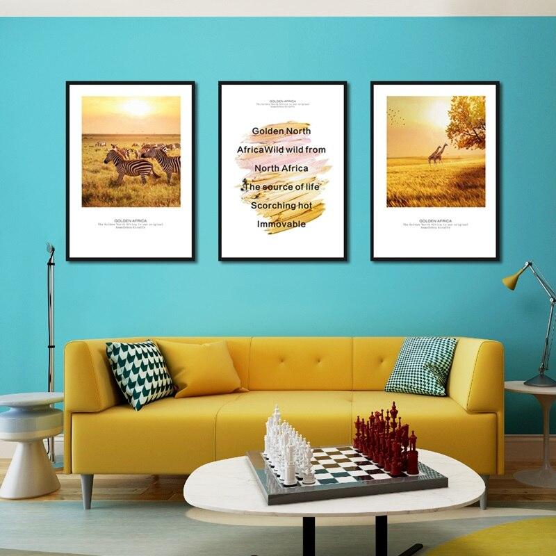 >Nordic <font><b>Style</b></font> Golden <font><b>Prairie</b></font> Zebra Giraffe Background Canvas Oil Painting Art Painting <font><b>Home</b></font> Decoration Wall Frameless