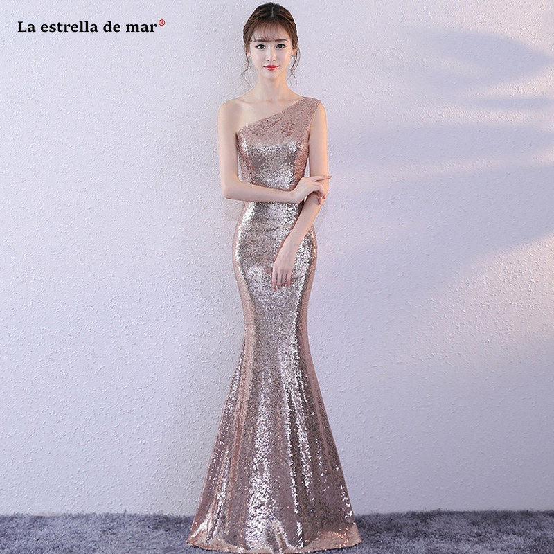 Sequin Bridesmaid Dress New One Shoulder Rose Gold Gold Silver Mermaid Wedding Party Gown Long Vestido Para Boda Invitada Simple