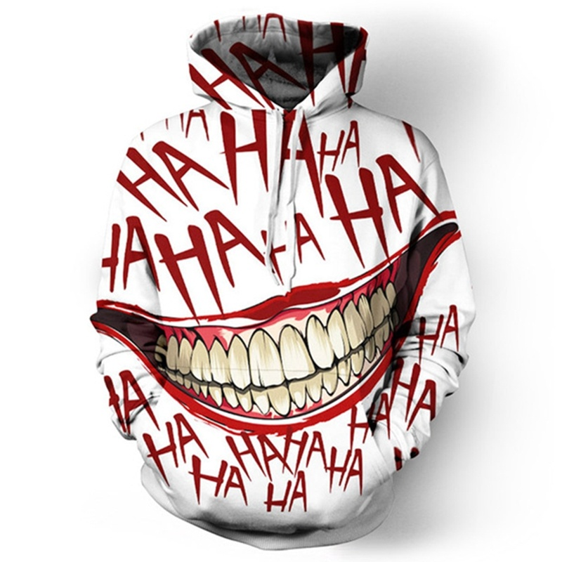 HAHA Joker Funny Hoodie Halloween Crazy Smile Sweatshirt Suicide Squad Fashion Hoodie/Sweatshirt/T Shirt