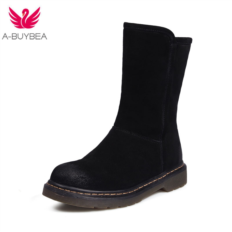 Classic Suede Snow Boots Women Warm Thick Fur Lined Winter Shoes Black High Quality Zipper Low Heels Ladies Mid Calf Boots