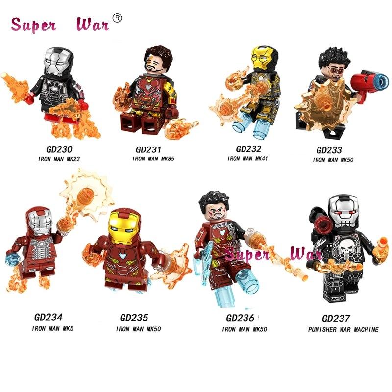 Single Avengers Endgame Iron Man IronMan MK85 MK50 MK22 MK41 MK50 MK5 Punisher War Machine Pepper building blocks Kids Toys