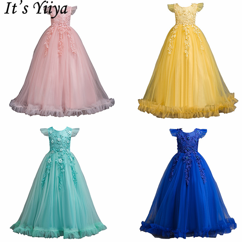 It's YiiYa   Flower     Girl     Dresses   6 Colors Sleeveless Lace Embroidery Kids Party   Dresses   O-Neck Floor Length pageant   dresses   833