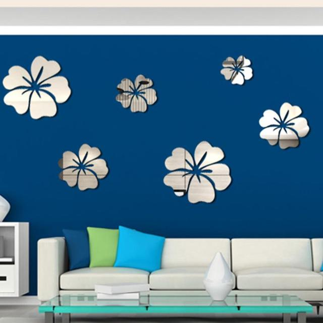 5 Pcs Hibiscus Flower Background Wall Stickers 3D Home Decoration Wall Art DIY Silver Mirror Wall Decorative Home Accessories 1
