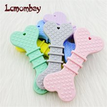 Lcmombay Baby Silicone teether Dog Bone Lovely Teether Cartoon pendant Twisted DIY Pacifier Chain Baby Toys Teether Kids product(China)