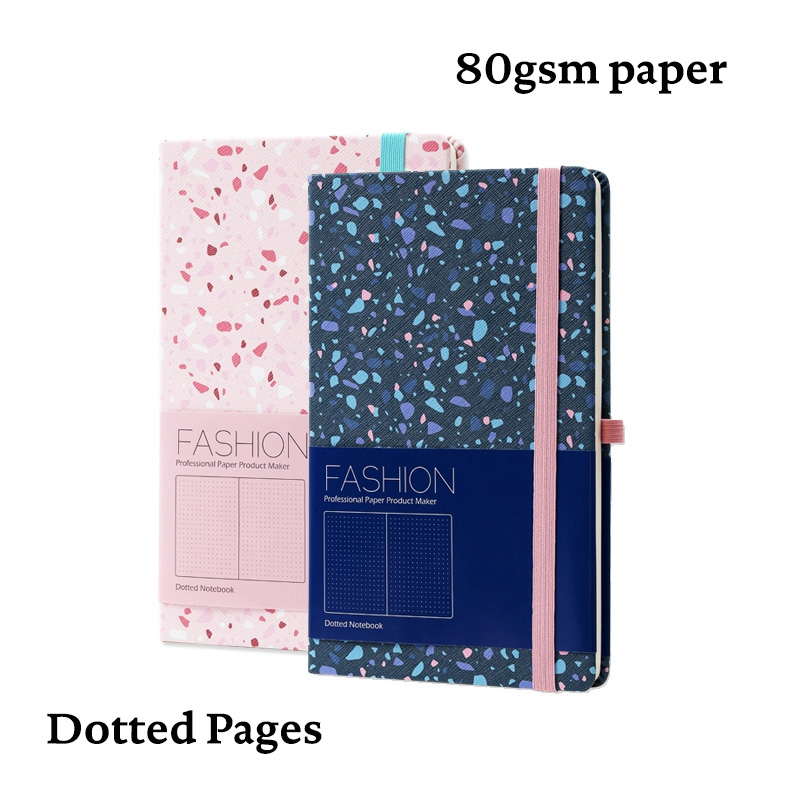 Dotted Hard Cover Bullet Journal Notebook Granite Elastic Band Travel Diary Dot Grid Bujo Planner