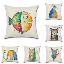 Abstract Small Animal Pillow Covers Square Throw Pillow Covers Set Cushion Case for Sofa Bedroom Car 45 x 45 цены