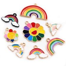 8 teile/los Nette Sunflower Regenbogen Emaille Metall Charms Anhänger für DIY Halskette Armband Schmuck, Die Entdeckungen Liefert