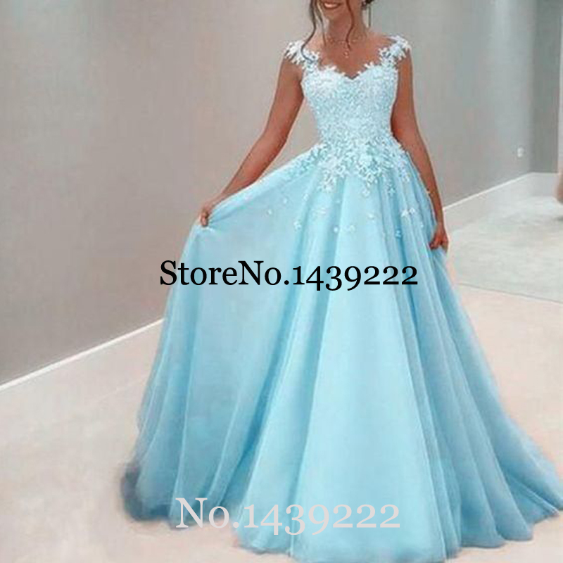 Light Blue Evening Dresses Lace Appliques Pleat Women Saudi Arabic Special Occasion Evening Formal Party Gown Dresses
