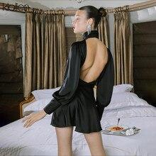 KLALIEN Vintage Turtleneck Black Dress Women Slim Satin Slik Vestidos 2020 fashion Long Sleeve Backless senior Party Club Dress