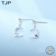 TJP S925 Sterling Silver Jewelry Fashion Light Luxury Hundred-set Stone Bright Star Crescent Ear Nails