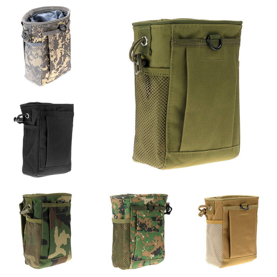 Drawstring Pouch Bag Outdoor Military Airsoft Molle Belt Tactical Dump Drop Bag