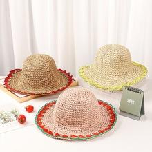 Słomkowy kapelusz dla dzieci dziewczyny lato cienki odcinek słodkie owoce serii dekoracji kapelusz typu Bucket ręcznie tkane styl College kapelusz typu Bucket tanie tanio Flower Zhejiang Yiwu Jr 028 2 4 Year Old 4 8 Year Old
