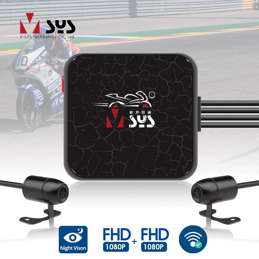 SYS VSYS двойной Видеорегистраторы для мотоциклов регистратор 1080P мото экшн Камера Регистраторы переднего и заднего вида Водонепроницаемый ка...