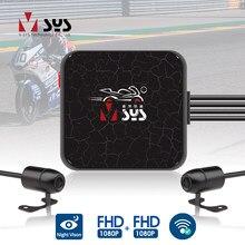 Sys vsys dupla motocicleta dvr 1080p ação câmera gravador frente & retrovisor à prova drearview água da motocicleta traço cam preto caixa de visão noturna