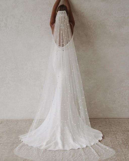 LORIE Sexy Mermaid Wedding Dresses Boho V-Neck Open Back Elastic Wedding Gown Simple Long Train Buttons Bridal Dress 2021 3
