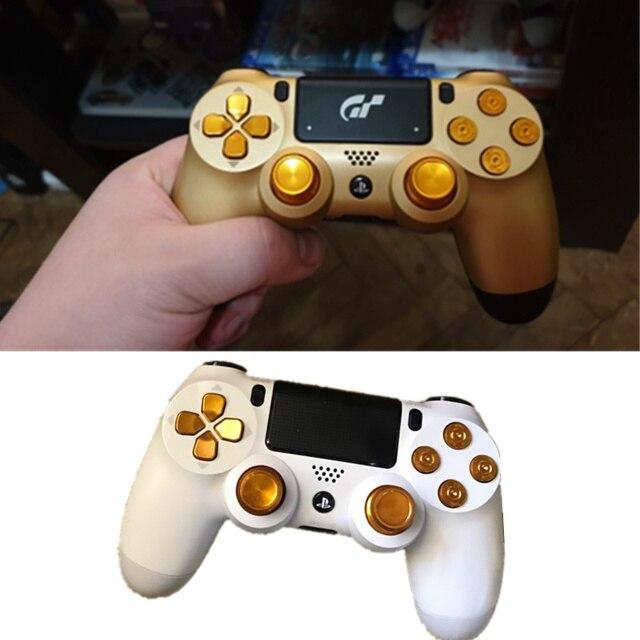 Joysticks analógicos de metal botões de ação de alumínio dpad para dualshock 4 ps4 playstation 4 pro controlador fino acessórios gamepad