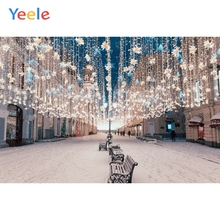Yeele Christmas Backdrop Light Snow Road House City Night Newborn Baby Birthday Party Photography Background For Photo Studio