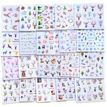 2020 Winter Nieuwe Versie Fashion Nail Art Kerst Nail Watermerk Sticker Kerstman Boom Sneeuwpop Gewei Nail Art Stickers Xmas Gift
