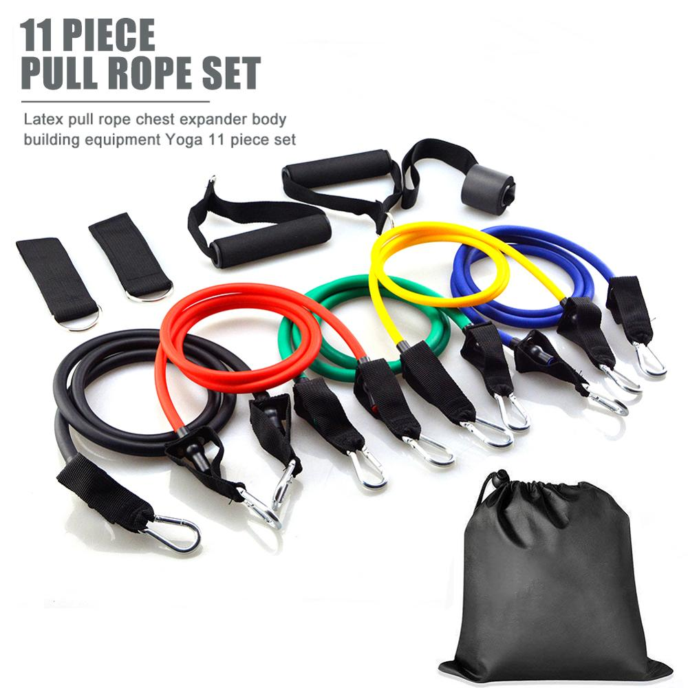 11pcs/set Resistance Band Latex Elastic Pull Rope Home Gym Yoga Fitness Workout Sports Body Building Equipment Tool